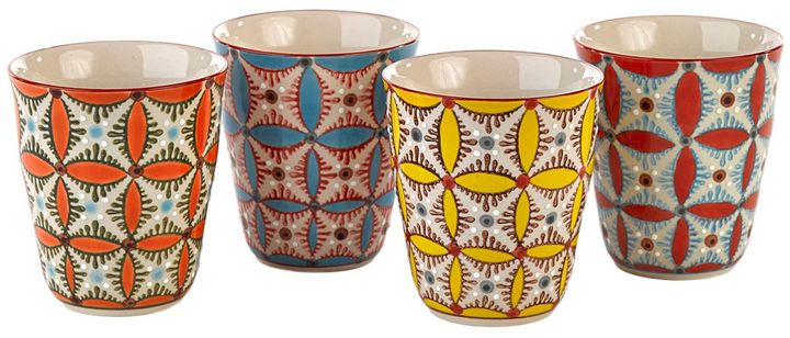 Color Hippy Set Of 4 Porcelain Cups