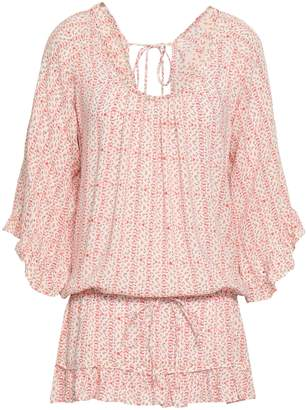 Eberjey Gathered Printed Voile Mini Dress