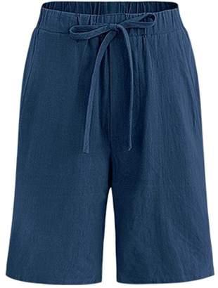Ainovile Women's Drawstring Waisted Cotton Linen Bermuda Shorts