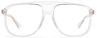 Gucci Squared Aviator Acetate Optical Glasses - Mens - Clear