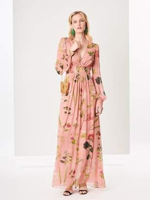 Oscar de la Renta Botanical Print Silk-Chiffon Maxi Dress
