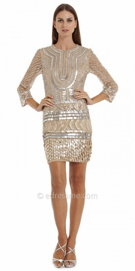 JS Collections Embellished Illusion Three Quarter Sleeve Cocktail Dresses