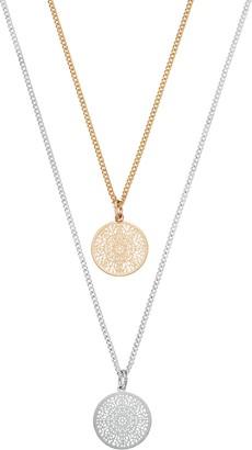 Lauren Conrad Openwork Disc Pendant Necklace Set