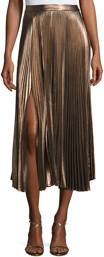 A.L.C. A.L.C. Bobby Pleated Lamé; Midi Skirt, Rose Gold