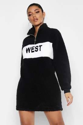 1905334a3dd0 boohoo West Zip High Neck Borg Sweat Dress