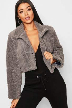 boohoo Crop Fleece Puffer Jacket