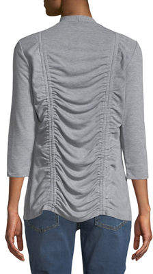Neiman Marcus Ruched-Back 3/4-Sleeve Cardigan