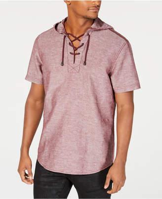 INC International Concepts I.n.c. Men Linen Drawstring Hooded Shirt