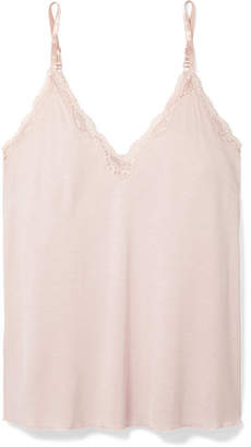 Skin - Juno Lace-trimmed Jersey Pajama Top - Pastel pink