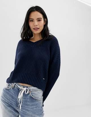 Hollister deep v stripe knit sweater