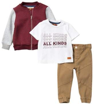 7 For All Mankind Fleece Jacket, Tee, & Twill Pants 3-Piece Set (Baby Boys)