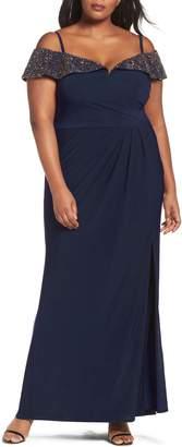 Xscape Evenings Embellished Cold Shoulder Gown