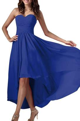 H.S.D Women's Sweetheart Asymetrical Chiffon Bridesmaid Prom Gowns