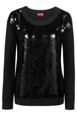HUGO Boss Sequined sweater boat neckline S Black