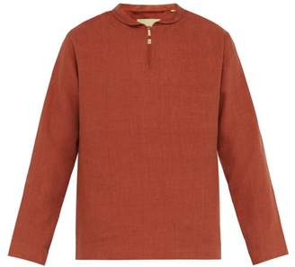 De Bonne Facture - Notched Neck Linen Poplin Top - Mens - Brown