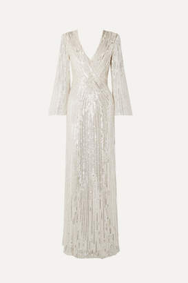 Jenny Packham Silvie Embellished Tulle Gown - Silver