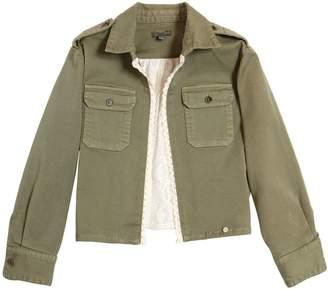 Stretch Cotton Gabardine & Lace Jacket