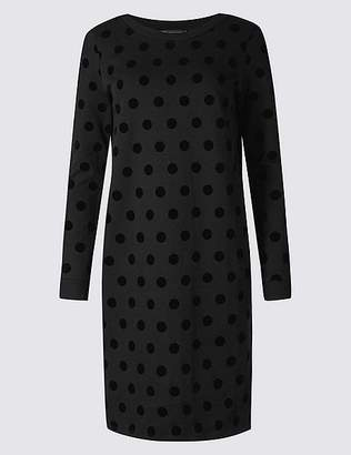 Marks and Spencer Pure Cotton Spotted Long Sleeve Shift Dress