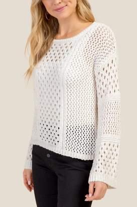 francesca's Hazel Pointelle Chenille Sweater - Ivory