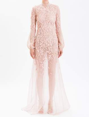 J. Mendel Dusty Rose High Neck Embroidered Gown