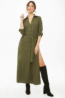Forever 21 Patch-Pocket Maxi Shirt Dress