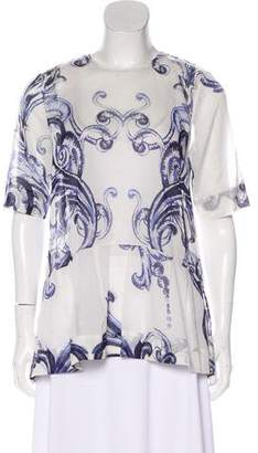 Lela Rose Decorative Print Short Sleeve Top