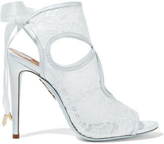 Aquazzura - Sexy Thing Leather-trimmed Cutout Lace Sandals - White $595 thestylecure.com