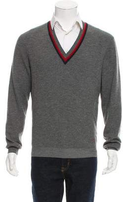 Gucci Web-Trimmed Wool Sweater