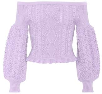Valentino Cropped off-the-shoulder wool sweater