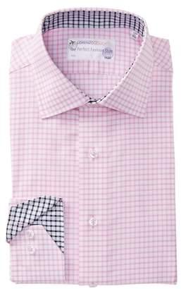 Lorenzo Uomo Textured Gingham Trim Fit Dress Shirt