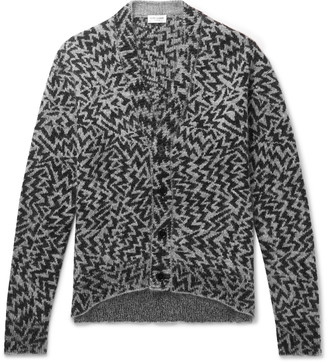 Saint Laurent Wool-Blend Jacquard Cardigan - Men - Gray