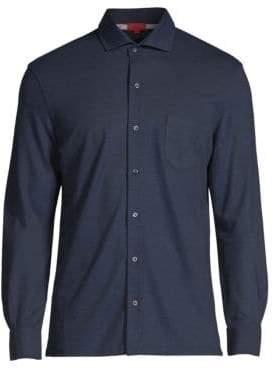 Isaia Wool Pique Button-Down Shirt