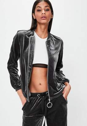 Missguided Londunn + Gray Velour Bomber Jacket
