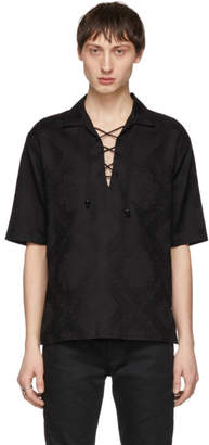 Saint Laurent Black Jacquard Bandana Lace-Up Shirt