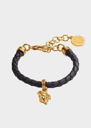 Versace Braided Leather Charm Bracelet