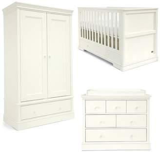 Mamas and Papas Oxford Cotbed, Dresser & Wardorbe -White