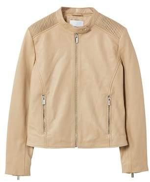 MANGO Quilted panels leather jacket