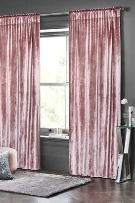 Next Plush Velvet Pencil Pleat Lined Curtains