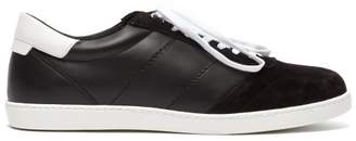 Buscemi Box Leather And Suede Low Top Trainers - Mens - White Black