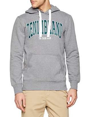 Tom Tailor Men's Sweathoody Mit Kaputze Und Denim Slogan Sweatshirt, (Heather Grey Melange 10350), X-Large