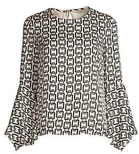 57b2cd27b49472 Milly Women's Holly Chain Print Bell Sleeve Top
