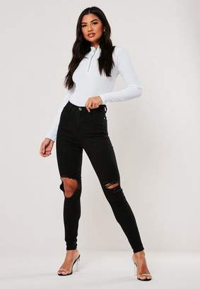 Missguided Black High Waisted Open Knee Skinny Jeans