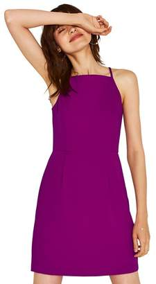 Oasis Dark Purple Lace Back Crepe Shift Dress