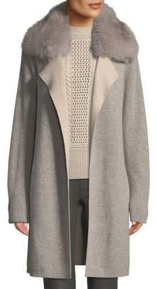 Sofia Cashmere Cashmere Double-Face Coat w/ Fur Collar
