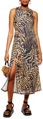 Topshop Tiger Print Mesh Sleeveless Midi Dress