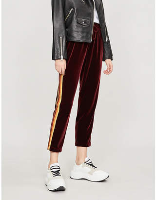 Mother The Lounger Ankle relaxed-fit straight velvet jogging bottoms