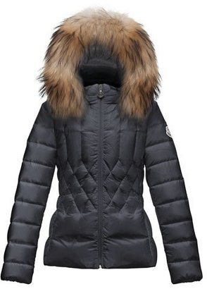 Moncler Adanna Diamond-Quilted Puffer Coat, Navy, Size 8-14 $760 thestylecure.com