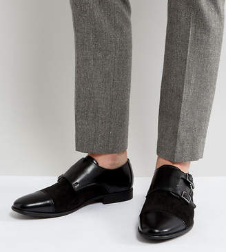 Asos Design DESIGN Wide Fit monk shoes in faux black leather