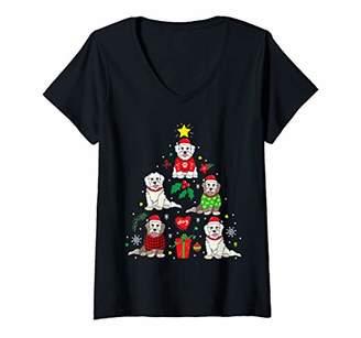 Womens Coton De Tulear Christmas Ornament Tree Decor Funny Dog Gift V-Neck T-Shirt