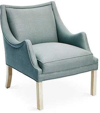 Bunny Williams Home Koko Accent Chair - Sea Blue Linen